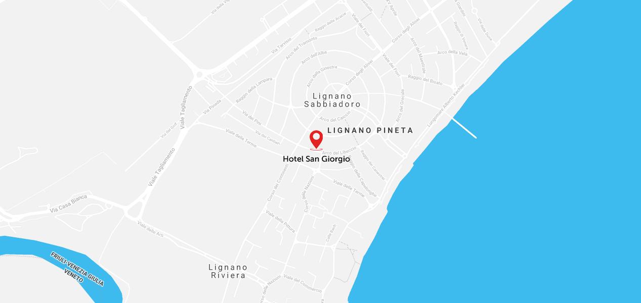 Mappa di Lignano dell'hotel San Giorgio 3 stelle